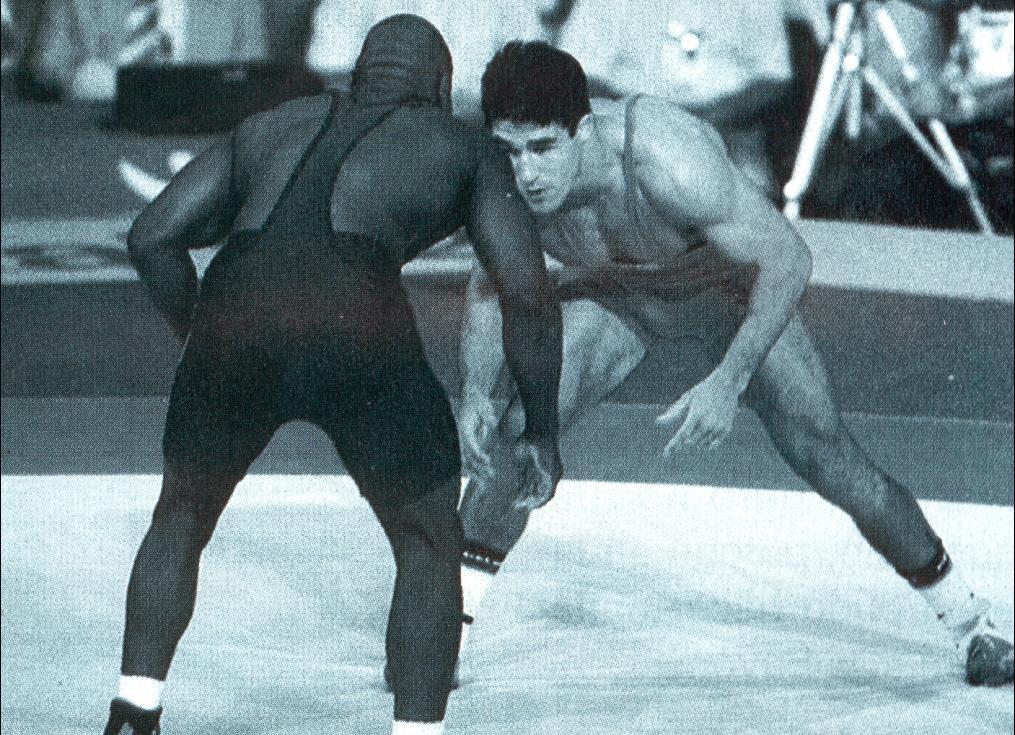 Francisco Javier Iglesias Serna durante un combate  con Kevin Jackson (medalla         de oro en los Juegos Olímpicos de Barcelona 92).